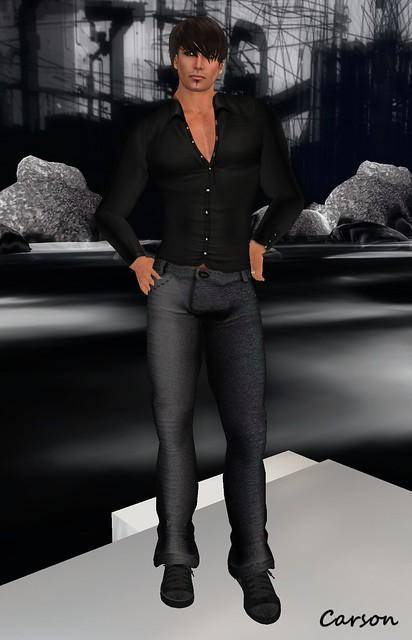 American Bazaar - Bob Chaemise Black Shirt, Black Booty Pants