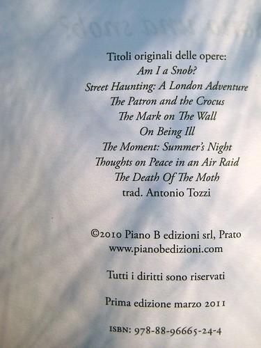 Virginia Woolf, Sono una snob?. Piano B edizioni 2011. [resp. grafiche non indicate]. Colophon (part.), 1
