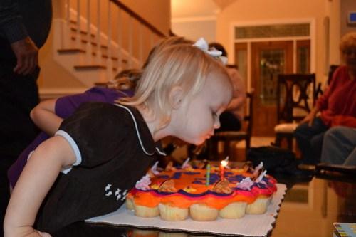 Candles on big cake