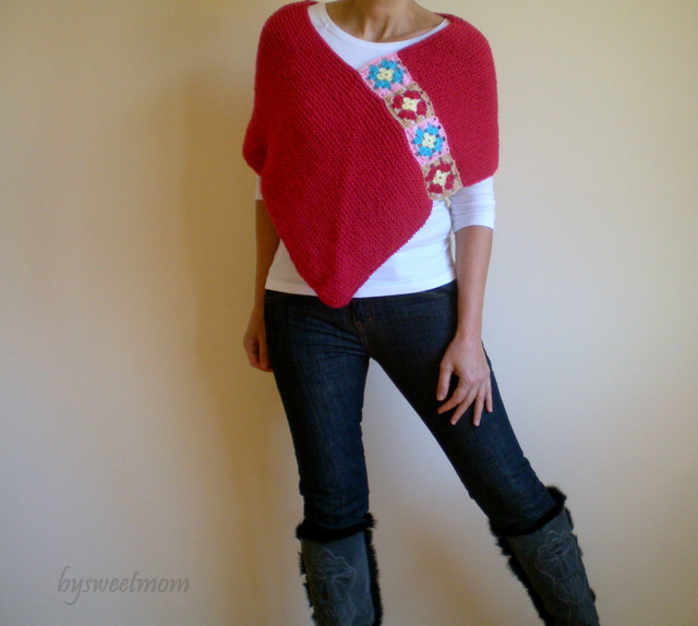 Crimson Red Hand Knit Afghan Poncho