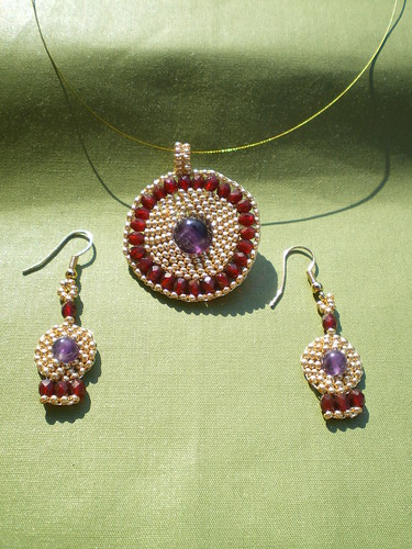 Boadicea's Shield Brick Stitch Pendant and Earrings