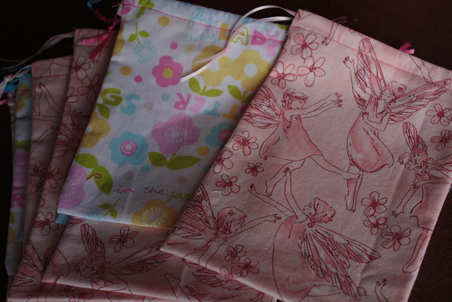I made pretty little drawstring bags
