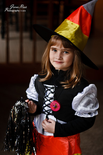 The little one as a Candy Corn Witch.
