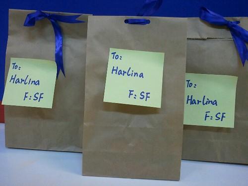 Three packages I received from my Secret Friend. Last week was Secret Friend week.