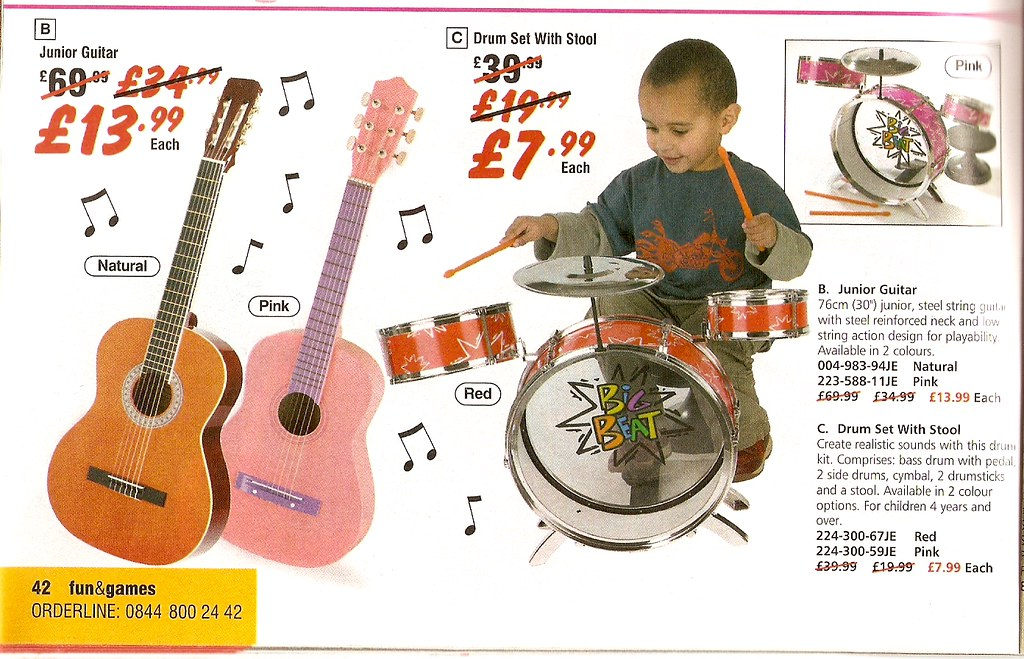 Catalogue images showing 'natural' guitar and pink guitar; red drum kit and pink drum kit.
