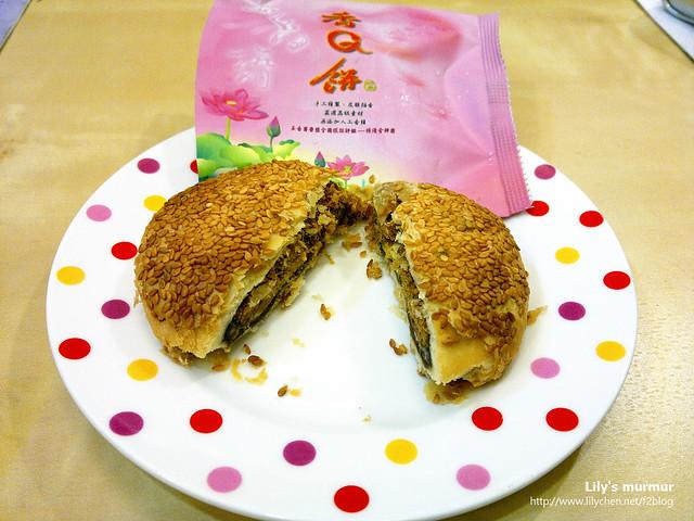 店內得獎的人氣商品「香Q餅」,內層的素肉脯、麻糬以及乳酪蛋黃夾心,讓餅的層次變得更為豐富。