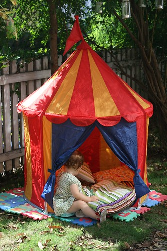 Tent time in the backyard