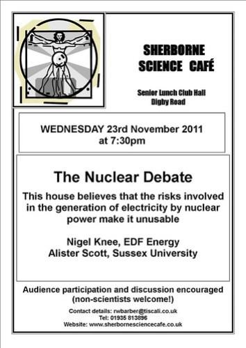 Sherbourne Science Cafe - November 2011 poster