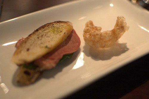 Pork skin cracker, tongue sandwich