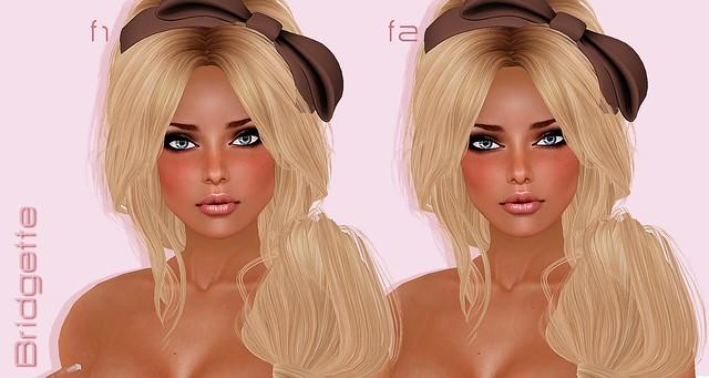 Bridgette face 1 vs face 2 close-up