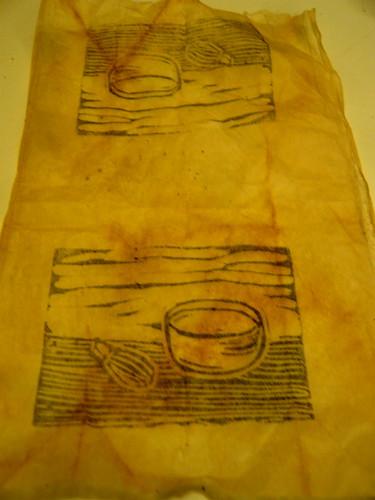 Tea bowls on teabag by floating ink
