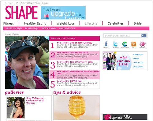 Me on Shape.com 's Lifestyle page