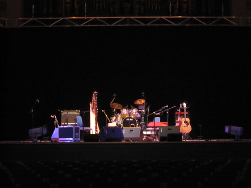 Our stuff onstage in Birmingham Town Hall