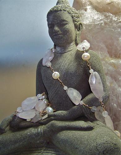 Rose Quartz Gold & Pearl Necklace by WETCLOUD