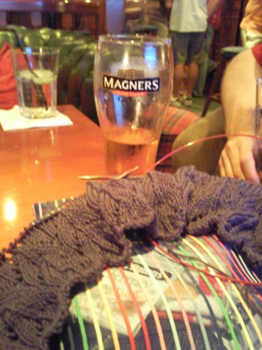 Rugby pub knitting with cider