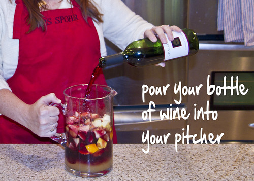 pour your wine into the pitcher