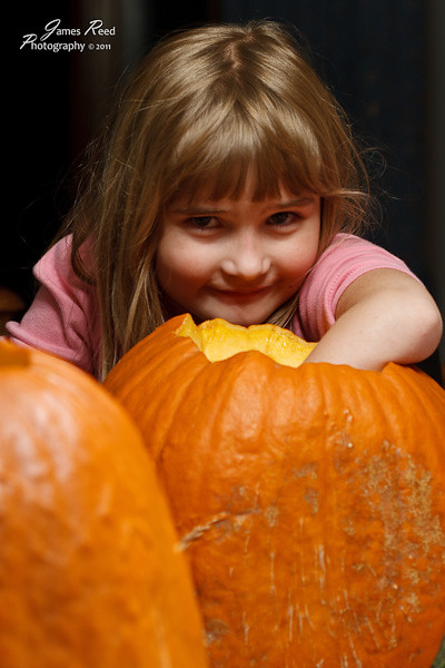 The little one guts her pumpkin with a grin.