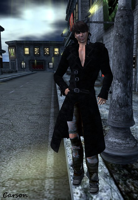 Davinel - Ferocious Sadness Leather Jacket , Just BECAUSE - Tattered Jeans, Death Row Designs - Black Razor Boots