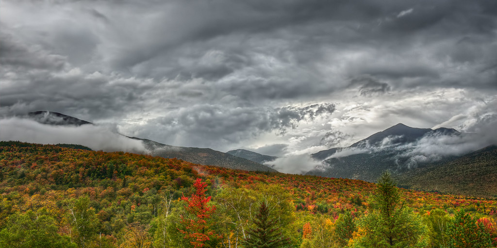 Storm at the Stage, a view of the White Mountains, New Hampshire, in autumn foliage