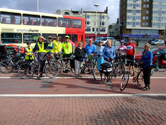 Brighton Clarion Cycle Ride 10 July 2011. Start of ride at the Palace Pier, Brighton. Photo by Leon.