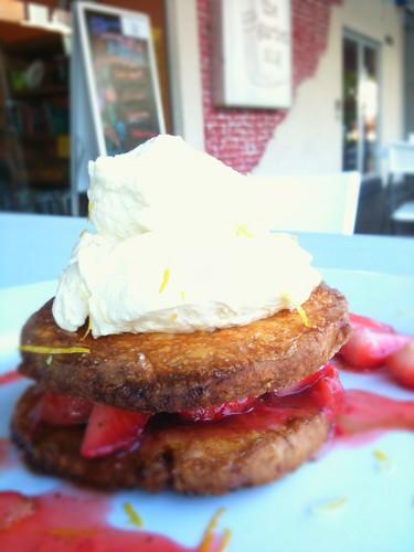 strawberry layered shortcake w/ lemon whipped cream and balsamic candy bits