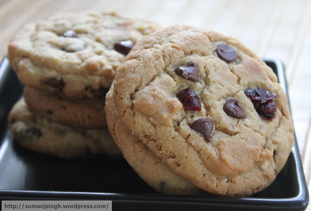 Peanut-Butter Oatmeal Chocolate Chip Cranberry Cookies