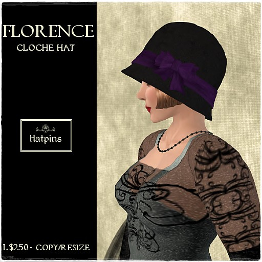 Hatpins - Florence Cloche - Purple