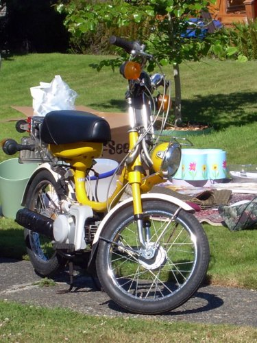 Yellow moped