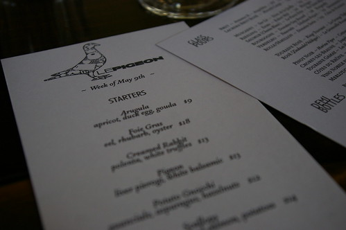 Le Pigeon menu