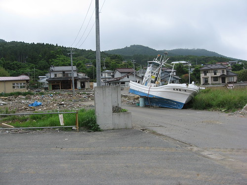 Washed-up fishing boat