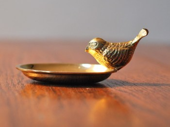 vintage brass bird dish
