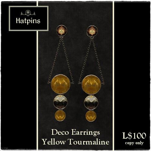 60L Item - Deco Earrings - Yellow Tourmaline
