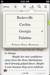 iBooks for iPhone: font menu