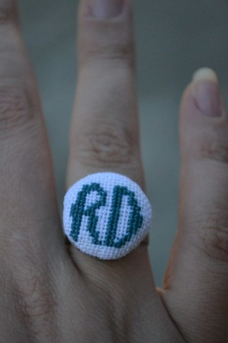Crosstitch Initial Ring
