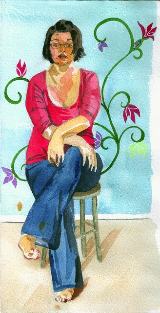Seated self-portrait in watercolors