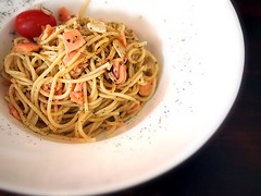 Smoked salmon spaghetti aglio olio, Jimmy Monkey Café & Bar, One-North Residences