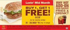 Fake McDonald's GCB Buy 1 Free 1 21 - 23 Jul 2011