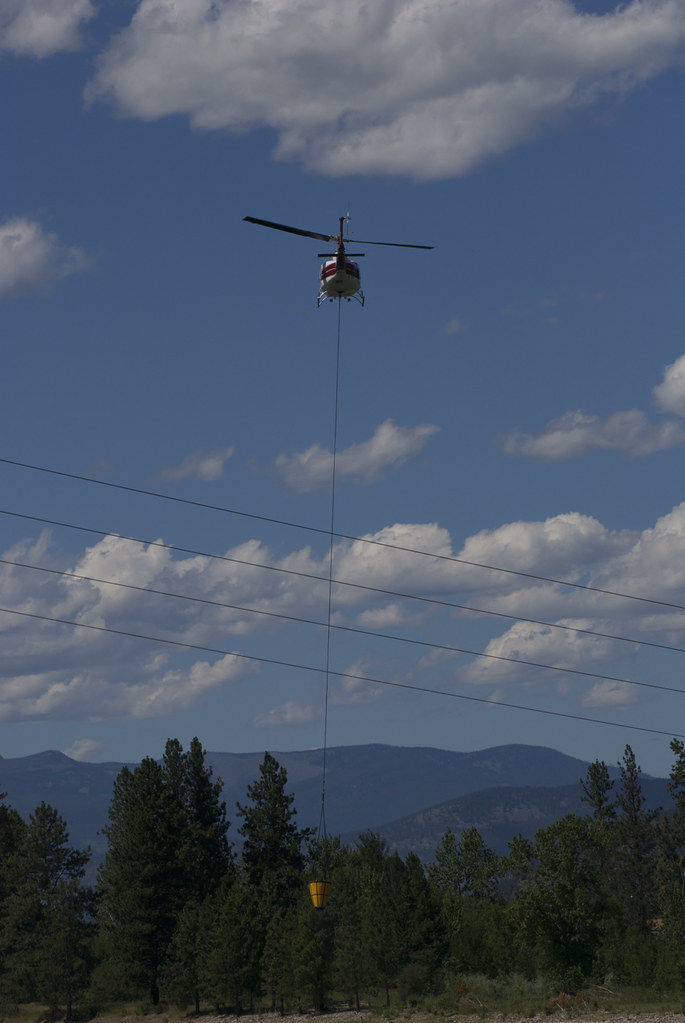 Helicopter and water bucket