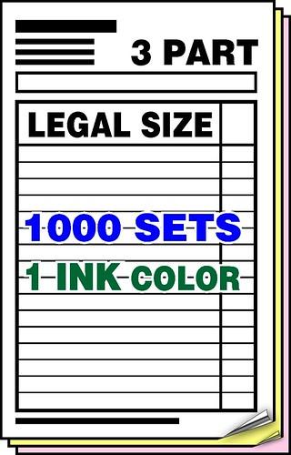 3part carbonlessforms 1colorink customprintedforms ncrforms3parthalflettersizefullcolor500setscarbonlessformsncrforms