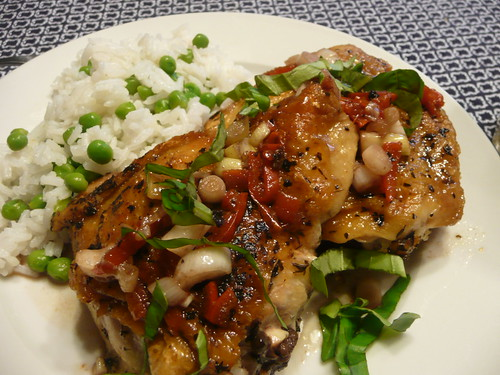 Chicken Under a Brick with Peppadew Peppers