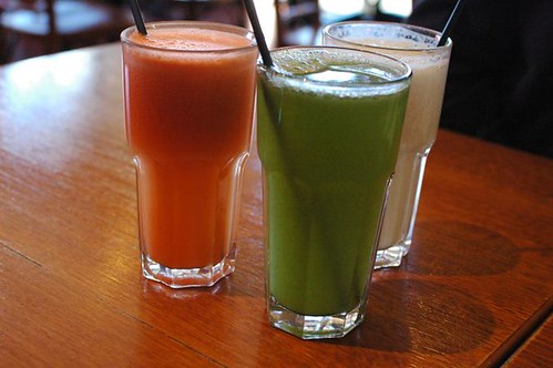 Carrot, orange & ginger juice, Chlorophyll thrill, Tropical colada