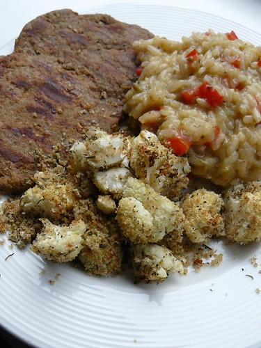 Chickpea cutlet, fennel risotto, herb-roasted cauliflower