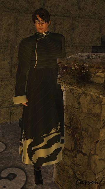 Lewellen's Fine Tailoring -  Black Mandarin Robe