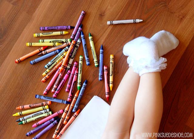 ruffle socks and crayons