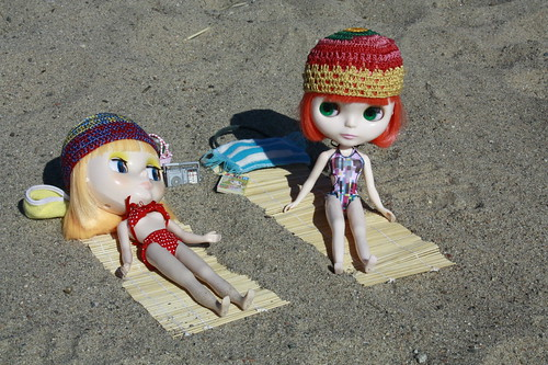 Vicky and Bambi on the beach