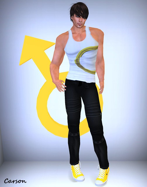 B!ASTA - Male Symbol Tank & Black Worker Pants --- Jeepers - Yellow Vaders