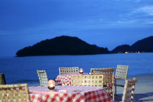 Dinner tables on the beach