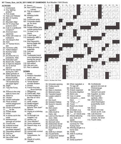 NYT Sunday Puzzle - July 24, 2011