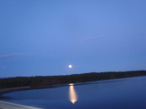 Moon over Scituate Reservoir, Rhode Island