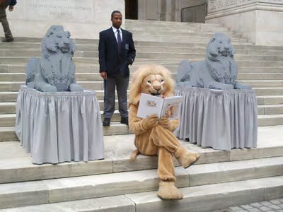Lego NYPL Library Lions On Display Outside 2